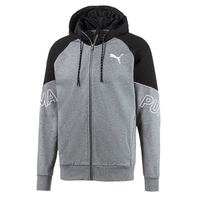 PUMA MODERN SPORTS FZ TR hoodie, Color: gray, Material: cotton, polyester