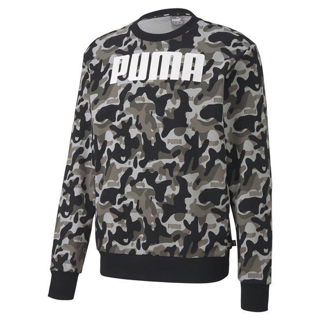 PUMA Rebel CAMO Crew TR sweatshirt, Color: black, Material: cotton, polyester