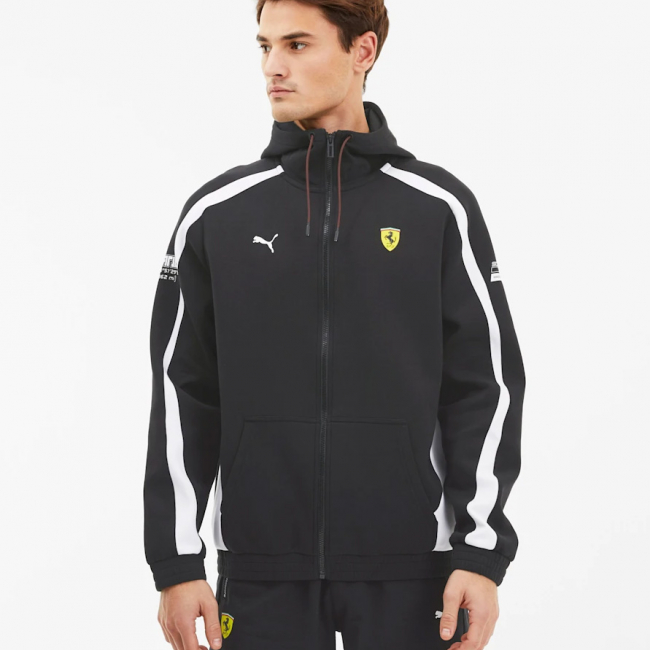 Ferrari SF hoodie, Color: black, Material: cotton, polyester