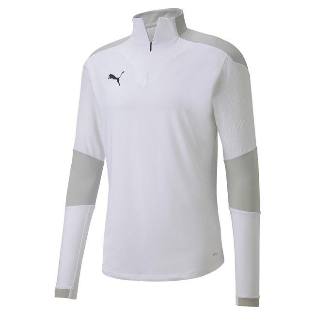 PUMA teamFINAL 21 TRG 1 4 Zip sweatshirt, Color: white, Material: polyester, elastane
