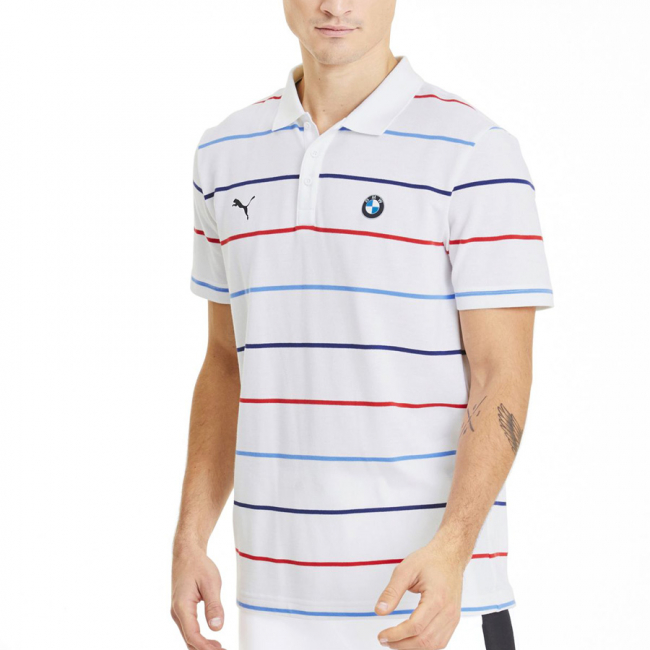 BMW MMS Striped T-shirt, Color: white, Material: cotton, polyester