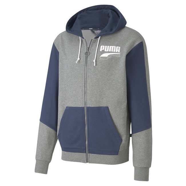 PUMA REBEL Block FZ TR hoodie, Color: gray Material: 68% cotton 32% polyester