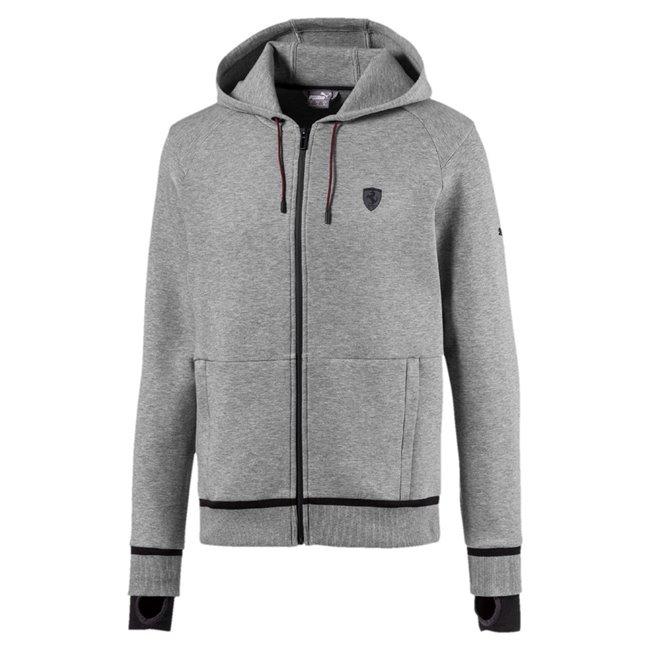 Ferrari hoodie, Color: gray, Material: cotton, polyester, elastane