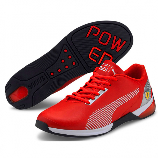 Ferrari Race Kart Cat-X Tech shoes, Colour: red, white, black, Material: Upper: synthetic leather, Sole: rubber