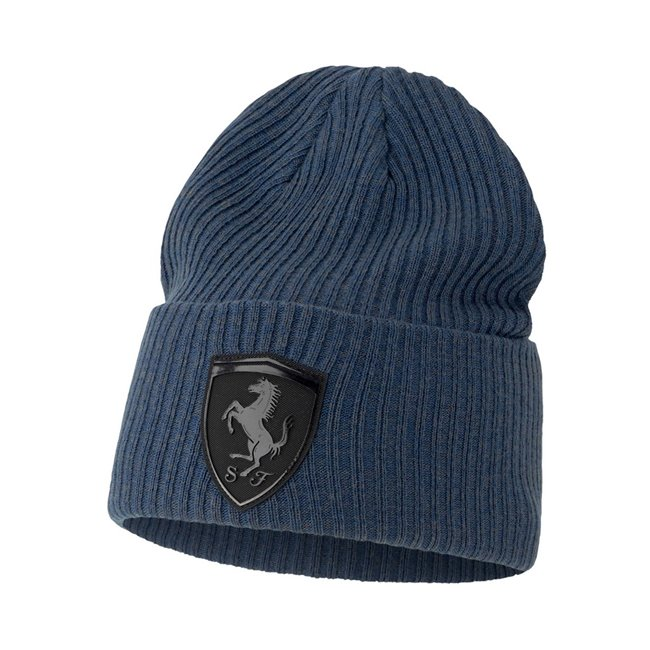 Ferrari Style Beanie, Color: dark blue, Material: acrylic, Soft material beanie made with special 37.5® yarns to keep the temperature under control, innovative Ferrari silicon shield with shining effect on the front and Puma 3D Cat embroidery logo on the back.