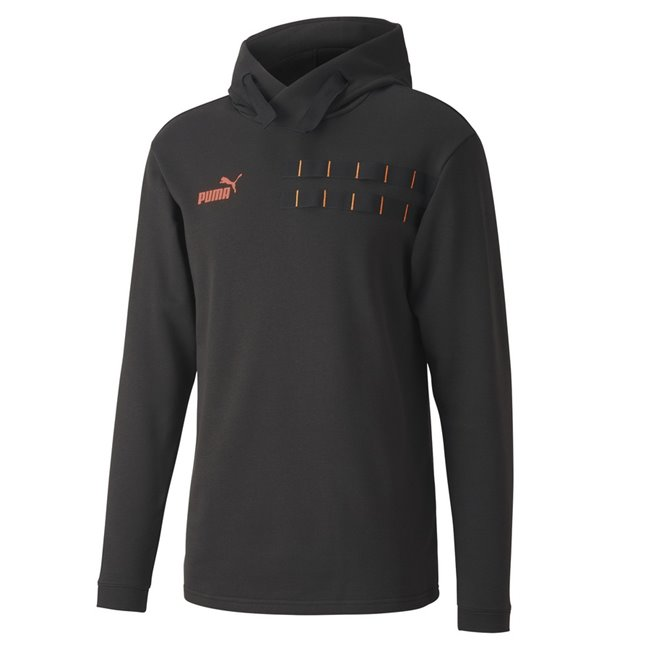 PUMA ftblNXT Casuals Hoody, Color: black, orange, Material: polyester, cotton, A progressive training collection designed for a higher level of performance and street utility. The Casuals styles comes with the theme