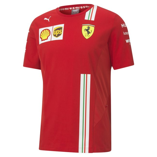 Ferrari SF Team Tee, Color: red, Material: cotton, The 2020 Tee is totally function-oriented by breathable mesh panels on side body. Fully recognizable by the white stripe print with Italian flag on as seen worn by the team during the 2020 Formula 1 season.Printed Ferrari Team and Sponsor logos PUMA Cat logo print regular fit
