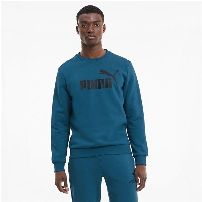 PUMA Essentials Fleece Sweat, Color: blue, Material: cotton, polyester, No.1 Logo pigment print Regular fit Rib crew neck, cuffs and hem