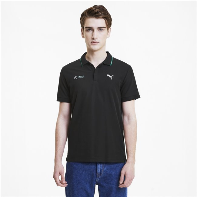 Mercedes MAPM Polo, Color: black, Material: cotton, polyester, Classic Polo with Pique material- Regular fit- Rib collar with colour tipping- Rib sleeve- MAPM Logo bade woven raised print badge on right chest- PUMA Cat Logo print on left chest- MAPM inner woven label