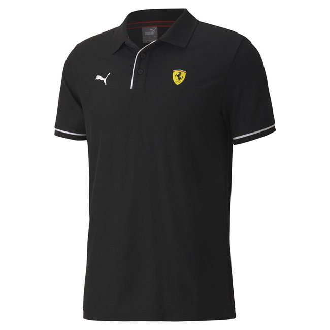 Ferrari Race Polo, Color: black, Material: cotton, polyester, - Ferrari Shield TPU badge on left chest- PUMA Cat logo print on right chest - contrast color piping on button placket and rib cuffs