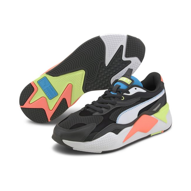PUMA RS-X? Millenium Shoes, Color: black, white, Material: fabric, X marks extreme. Exaggerated. X3 takes it to a new level: cubed, enhanced, extra. In 2020, we reboot our RS design and take it to an extra, thrice-exaggerated form by stripping the silhouette down to the basics then building it up with stronger material mixes and colors. Inspired by the early 2000