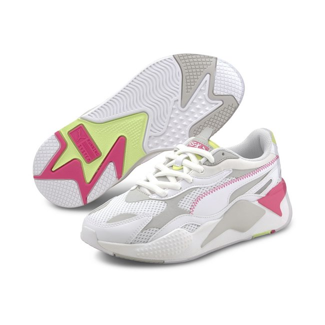 PUMA RS-X? Millenium Shoes, Color: white, gray-purple, green, Material: fabric, X marks extreme. Exaggerated. X3 takes it to a new level: cubed, enhanced, extra. In 2020, we reboot our RS design and take it to an extra, thrice-exaggerated form by stripping the silhouette down to the basics then building it up with stronger material mixes and colors. Inspired by the early 2000