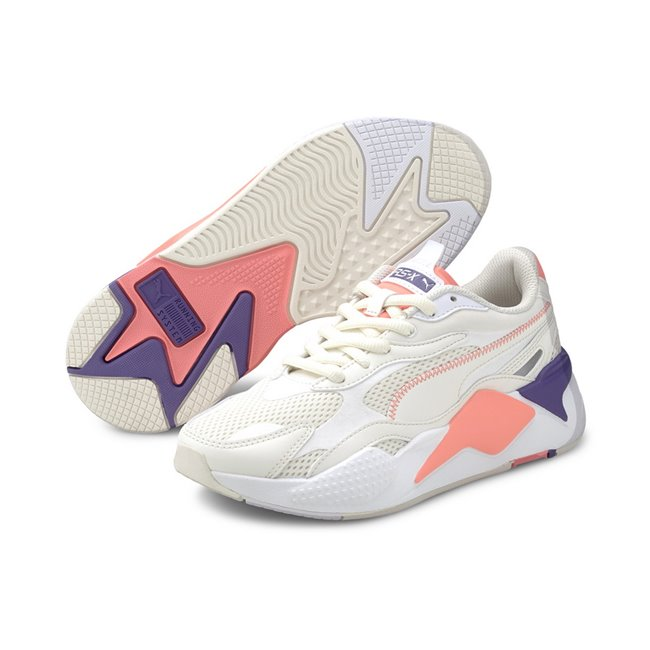 PUMA RS-X? Millenium Shoes, Color: white, white, peach, Material: fabric, X marks extreme. Exaggerated. X3 takes it to a new level: cubed, enhanced, extra. In 2020, we reboot our RS design and take it to an extra, thrice-exaggerated form by stripping the silhouette down to the basics then building it up with stronger material mixes and colors. Inspired by the early 2000