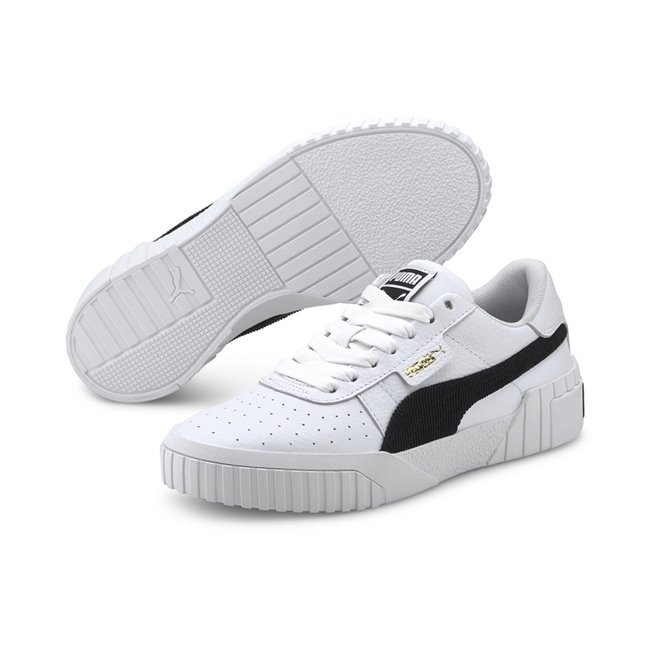 PUMA Cali Corduroy Shoes, Color: white, black, Material: leather, The classic 80