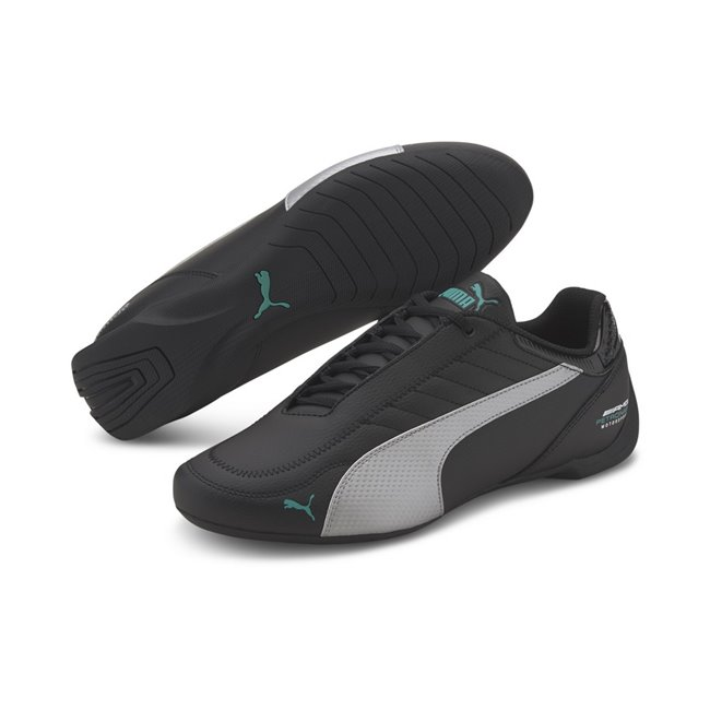 Mercedes MAPM Future Kart Cat Shoes, Color: black, silver, Material: synthetic fibers, Fusioning 2 iconic motorsport silhouettes: the future cat and the kart cat we have the MAPM Future Kart Cat. It has a synthetic upper with stitched details that give value to the shoe. Its rubber outsole provides perfect grip and makes it a new option for the hard core motorsport fans.