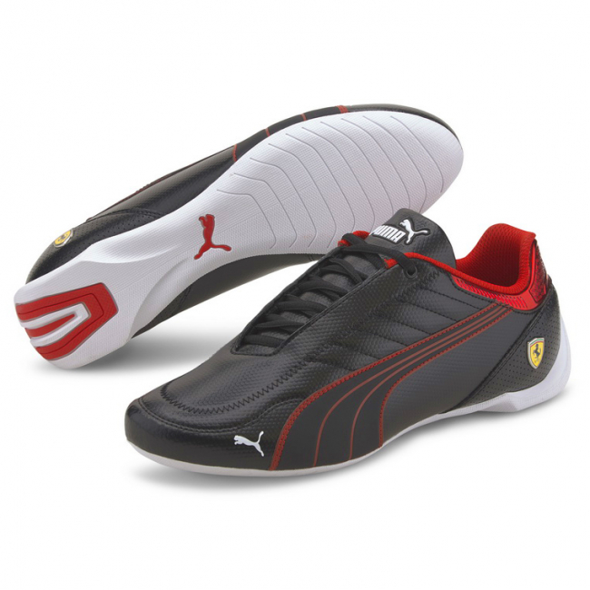 Ferrari Race Future Kart Cat Shoes, Color: black, red, Material: synthetic fibers, Fusioning 2 iconic motorsport silhouettes: the future cat and the kart cat we have the SF Future Kart Cat. It has a synthetic upper with stitched details that give value to the shoe. Its rubber outsole provides perfect grip and makes it a new option for the hard core motorsport fans.