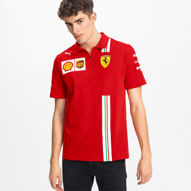 Ferrari SF Team Polo, Color: red, Material: cotton, The 2020 Polo is totally function-oriented by breathable mesh panels on side body. Fully recognizable by the white stripe print with Italian flag on as seen worn by the team during the 2020 Formula 1 season.Printed Ferrari Team and Sponsor logos PUMA Cat logo print regular fit