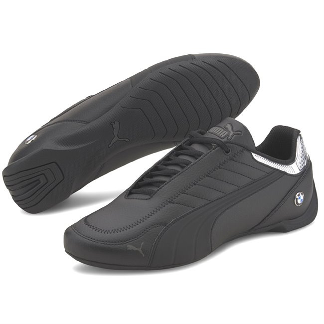 BMW MMS Future Kart Cat Shoes, Color: black, silver, Material: synthetic fibers, Fusioning 2 iconic motorsport silhouettes: the future cat and the kart cat we have the BMW MMS Future Kart Cat. It has a synthetic upper with stitched details that give value to the shoe. Its rubber outsole provides perfect grip and makes it a new option for the hard core motorsport fans.