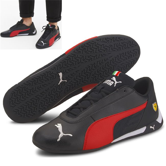 Ferrari SF R-cat Shoes, Color: black, red, Material: synthetic fibers, fabric, This season we are introducing a new low profile franchise: the R-cat inspired by the Replicat OG. The shoe is using synthetic leather upper with textile inserts, big Puma cat on the toe, and the iconic Replicat OG wings which are the main feature of the shoe. The skin details on heel with the iconic Ferrari colors and the Ferrari badge on the lateral finishes the genuine Motorsport low profile look.