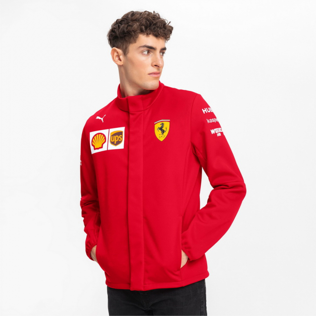 Ferrari SF Team Softshell Jacket, Color: red, Material: polyester, Water repellent Softshell Jacket with brushed inside backing and articulated sleeves.Printed Ferrari Team and Sponsor logos PUMA Cat logo print zip hand pockets white stripe print with Italian flag regular fit