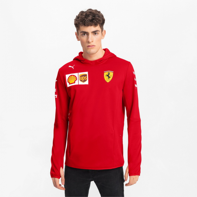 Ferrari SF Team Tech Fleece, Color: red, Material: polyester, The hooded silhouette in combination with tech fleece fabric provide you a comfortable feeling at colder conditions.Printed Ferrari Team and Sponsor logos PUMA Cat logo print hand pockets thumb hole at cuffs white stripe print with Italian flag regular fit