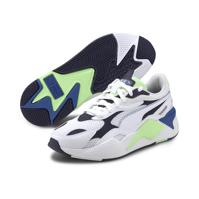 PUMA RS-X? Millenium Shoes, Color: white, dark blue, Material: fabric, X marks extreme. Exaggerated. X3 takes it to a new level: cubed, enhanced, extra. In 2020, we reboot our RS design and take it to an extra, thrice-exaggerated form by stripping the silhouette down to the basics then building it up with stronger material mixes and colors. Inspired by the early 2000