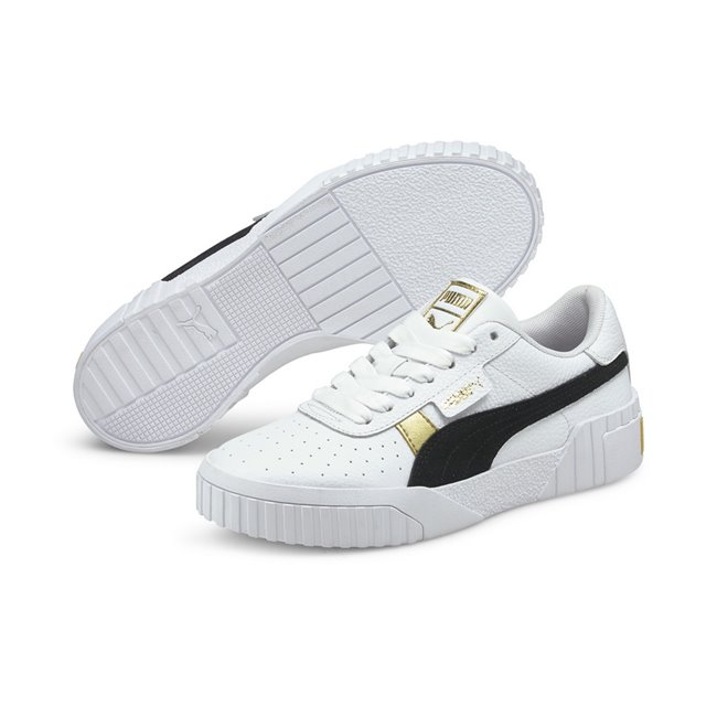 PUMA Cali Varsity Shoes, Color: white, black, gold, Material: leather, The classic 80