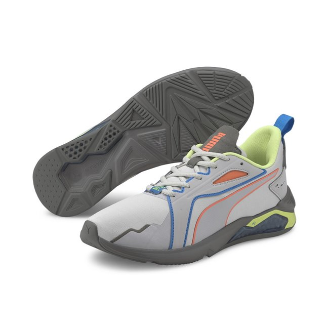 PUMA LQDCELL Method FM Xtreme shoes, Color: gray-purple, yellow, gray, orange, Material: mesh, The LQDCELL Agility is PUMA