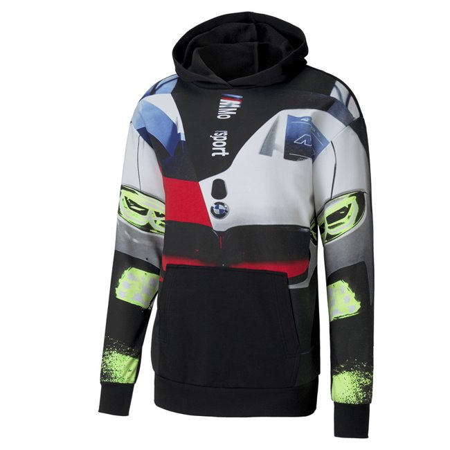 BMW MMS Street Hoodie, Color: black, Material: polyester, cotton, STREET is rooted in the credibility, heritage and desirability of our racing partner and re-mixed with PUMA genre-busting street appeal. The BMW STREET collection fuses all the relevant motorsport cues resulting in a distinctly street-ready collection with bold racing graphics and patches.The BMW MMS Street Hoodie takes cues from the winning BMW M8 GTE car at the legendary Daytona 24 hours race and is bringing the awesome energy and design from the track to the streets. - CW01 CW02: BMW M8 GT