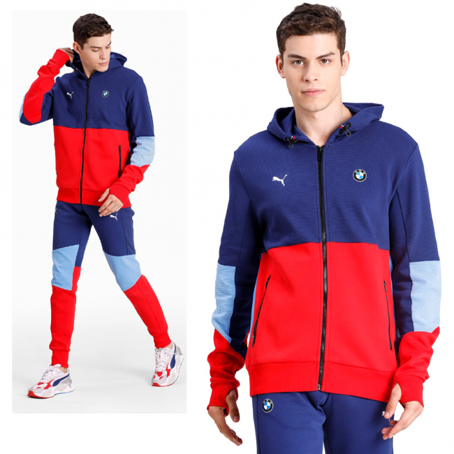 BMW MMS Hooded Sweat Jacket, Color: blue, blue, red, Material: cotton,