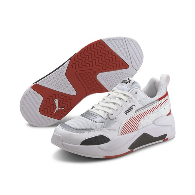 Ferrari Race X-Ray 2 Shoes, Color: white, red, white, Material: Mesh, leather, synthetic leather, The Motorsport street family is getting wider with the introduction of the Ferrari Race X-Ray 2 The injected molded EVA midsole which provides stability , a rubber outsole as well as the upper are taking cues from one of PUMA s most iconic styles but reinterpreted for today, featuring a material mix including mesh, suede and synthetic leather. Bulky shoe with amazing color blocking ,which outstands the shoe in the crowd.