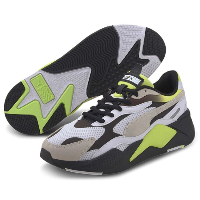 PUMA RS-X? Neo Fade Shoes, Color: white, yellow, black, Material: Mesh, X marks extreme. Exaggerated. X3 takes it to a new level: cubed, enhanced, extra. In 2020, we reboot our RS design and take it to an extra, thrice-exaggerated form by stripping the silhouette down to the basics then building it up with stronger material mixes and colors. This pack arrives in a simplistic base color with a subtle fade around the collar giving a vibrant look to the shoe.