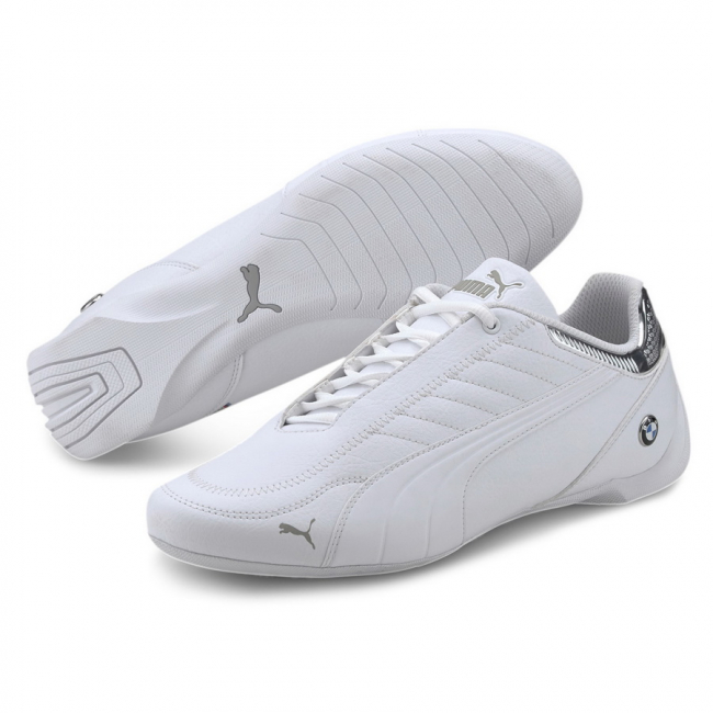 BMW MMS Future Kart Cat Shoes, Color: white, silver, Material: synthetic leather, Fusioning 2 iconic motorsport silhouettes: the future cat and the kart cat we have the BMW MMS Future Kart Cat. It has a synthetic upper with stitched details that give value to the shoe. Its rubber outsole provides perfect grip and makes it a new option for the hard core motorsport fans.