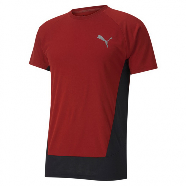 PUMA EVOSTRIPE Tee, Color: red, Material: viscose, polyester, dryCELL: Fabrics wick moisture away from the skin to help keep you dry and comfortable Cat logo reflective heat transfer Raglan sleeves for freedom of movement Mesh side panel for breathability Rounded dropped back hem Slim Fit Made with OEKO-TEX®Standard Made with miDori®bioWick