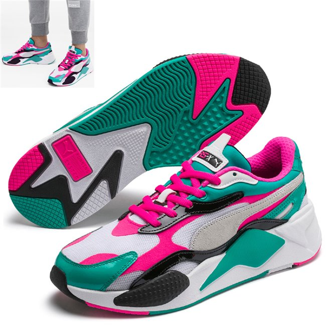 PUMA RS-X PLASTIC shoes, Color: white, Material: Upper: mesh, Midsole: PU, Sole: rubber