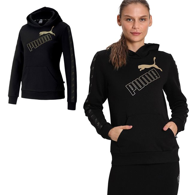 PUMA Amplified Hoodie, Color: black, gold, Material: cotton, polyester, Graphic PUMA no.1 Logo rubber print (cw 01, 02, 04, 16, 36) Graphic PUMA no.1 Logo gold metallic print (cw 51) Graphic PUMA no.1 Logo silver metallic print (cw 18, 27, 64) Printed tape on the sleeves with repeated no. 1 logo Kangaroo pockets for a convenient storage solution Rib cuffs and hem Regular fit Made with cotton from Better Cotton Initiative Made with OEKO-TEX®Standard.