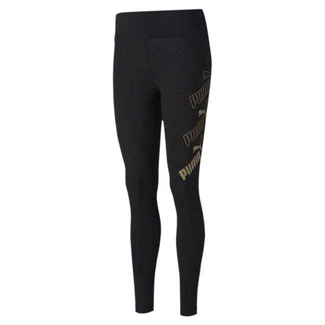 PUMA Amplified Leggings, Color: black, gold, Material: elastane, cotton, Repeated PUMA no.1 Logo rubber print (cw 01, 25, 36) Repeated PUMA no.1 Logo gold metallic print (cw 51) Repeated PUMA no.1 Logo silver metallic print (cw 18, 64) Tight fit Made with cotton from Better Cotton Initiative Made with OEKO-TEX®Standard.