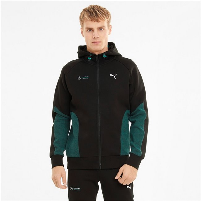 Mercedes MAPF1 Hooded Sweat Jacket men hooded sweatshirt, Colour: black, Material: cotton, polyester