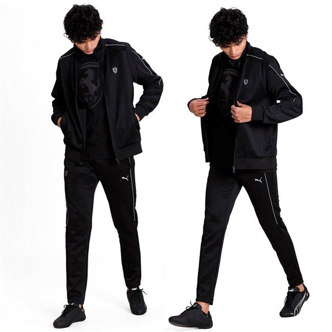 <p>Ferrari T7 men suit, Jacket: 2 side pockets, full zip, ferrari logo, Color: black, Material: polyester, cotton, Pants: 2 side pockets, Ferrari logo on the right leg, Color: black, Material: polyester, cotton</p>