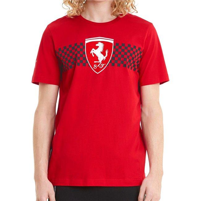 Ferrari Race Chcker Flag Tee men T-Shirt, Colour: red, Material: cotton