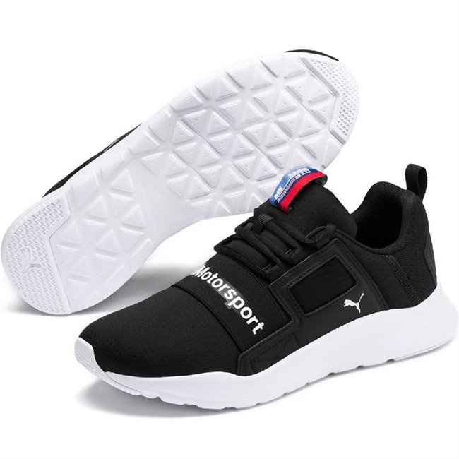 BMW MMS Wired Cage shoes, Colour: black, black, white, Material: Upper: fabric, Sole: rubber