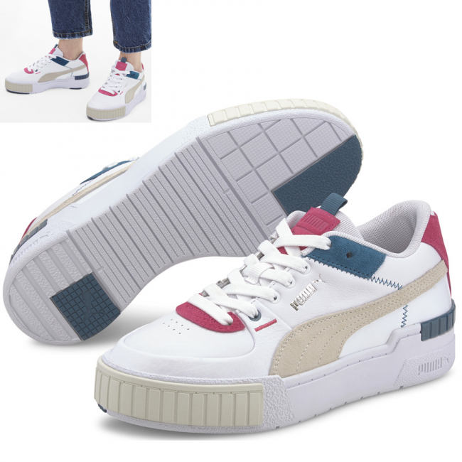 PUMA Cali Sport Mix Shoes, Color: white, gray, blue, Material: leather, A new evolution of the classic California, the Cali Sport stands out with a kick-ass platform and laid back, West Coast vibes. The latest Cali features a new upper with a few original design cues of the California. Its height is slightly higher while its tooling is edgier with a TPU piece at the back and the signature rubber pod at the front. This execution features a leather upper with suede overlays and zig-zag stitch details