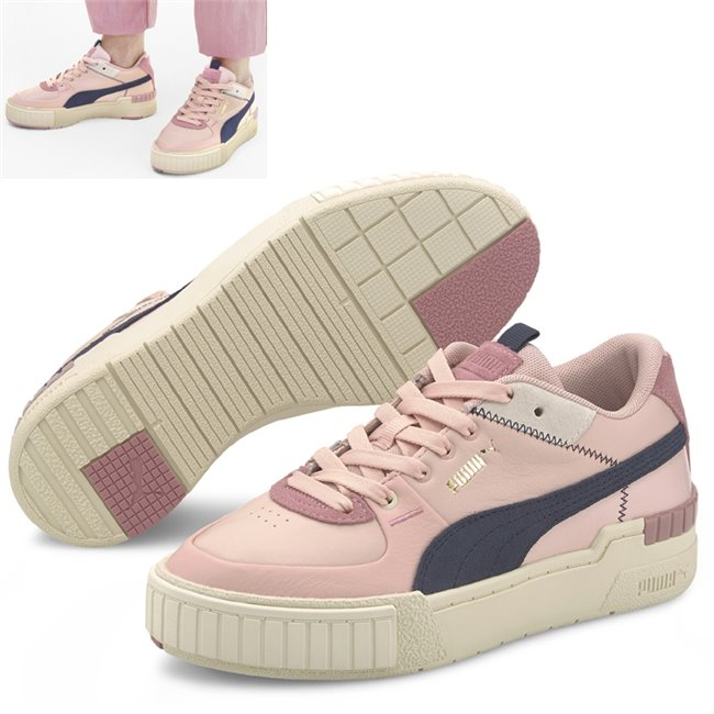 PUMA Cali Sport Mix Shoes, Color: peach, white, dark blue, Material: leather, A new evolution of the classic California, the Cali Sport stands out with a kick-ass platform and laid back, West Coast vibes. The latest Cali features a new upper with a few original design cues of the California. Its height is slightly higher while its tooling is edgier with a TPU piece at the back and the signature rubber pod at the front. This execution features a leather upper with suede overlays and zig-zag stitch details
