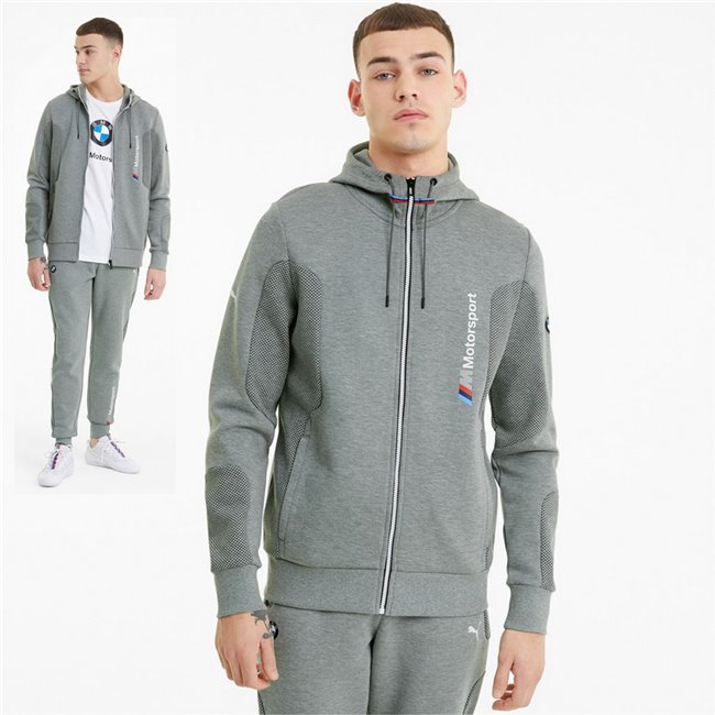 BMW MMS Hooded Sweat Jacket men hooded sweatshirt, Colour: gray, Material: cotton, polyester