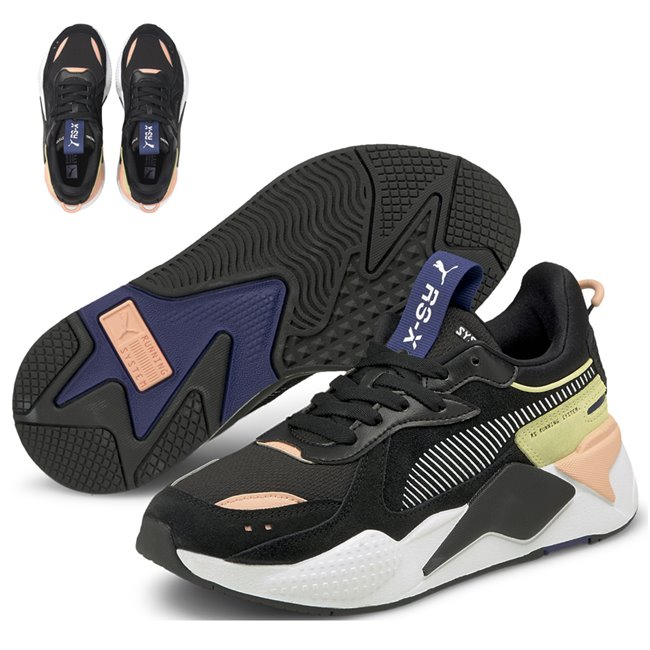 PUMA RS-X Reinvent Wns women shoes, Colour: black, pale pink, yellow, Material: Upper: leather, Midsole: PU, Sole: rubber