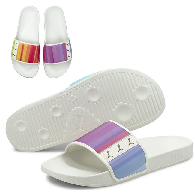 PUMA Leadcat FTR Rainbow slippers, Colour: light pink, black, Material: Upper: synthetic leather, Sole: EVA