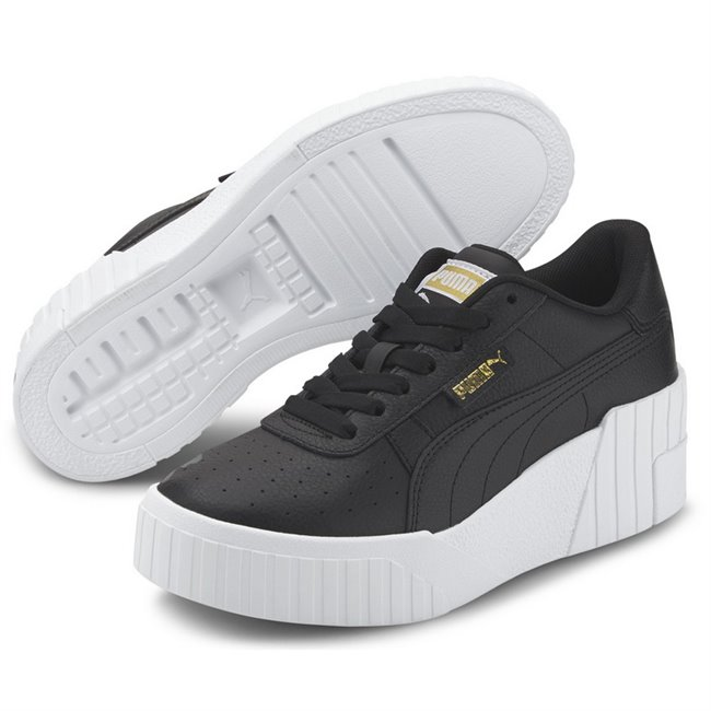 PUMA Cali Wedge Wns Shoes, Color of product: black, white, Material: leather, synthetic fibers, Higher and hotter than ever. Meet the Cali Wedge: a bold update to the Cali silhouette with an extreme, wedge sole. This execution features a leather upper.